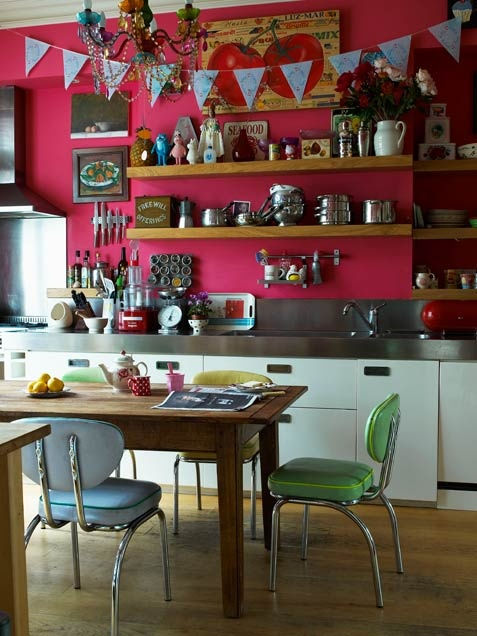 bright bold kitchen